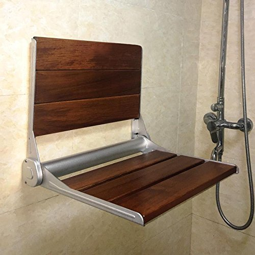 FinnSalle Teak Wood Folding Shower Seat,Aluminum+Wood Wall Seat Wall ...