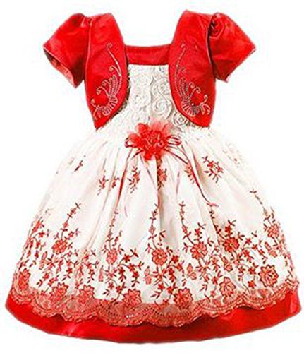 ZaH Little Girl Baby Special Occasion Flower Cotton Dress(Red,1-2Y)