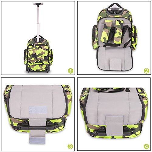 20 inches Big Storage Waterproof Wheeled Rolling Backpack Travel Luggage for Boys Students School Books Laptop Bag, Green Camouflage by HollyHOME (Image #7)