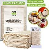 Cheesecloth - 5 Yards - Fine Weave: Grade 90-100% Unbleached Cotton - Filter - Strain - Reusable (Cotton String Included)