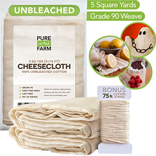 (Cheesecloth - 5 Yards - Fine Weave: Grade 90-100% Unbleached Cotton - Filter - Strain - Reusable (Cotton String Included))