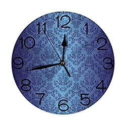 GULTMEE Round Wall Clock Home Decorative, Navy Blue, Antique Baroque Floral Swirling Patterns Victorian Vintage Retro Style, Diameter: 10.2 inch/Thickness 0.2 inch, Dark Blue and Blue