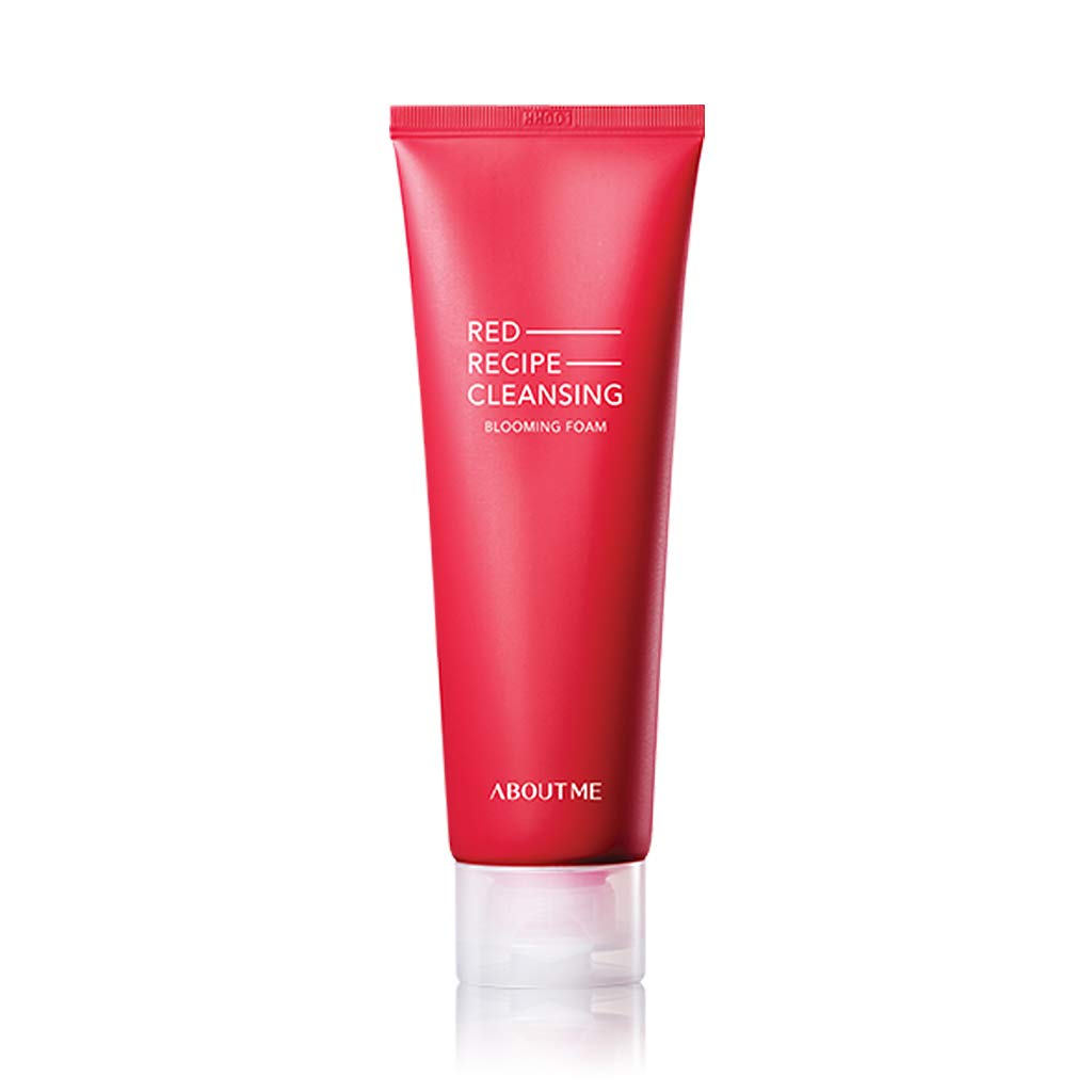 ABOUT ME Red Recipe Cleansing Blooming Foam 120ml - Rose Water & Lotus Flower Extract Moisturizing Cleansing Bubble Wash, Containing Rich Vitamin and Amino Acids