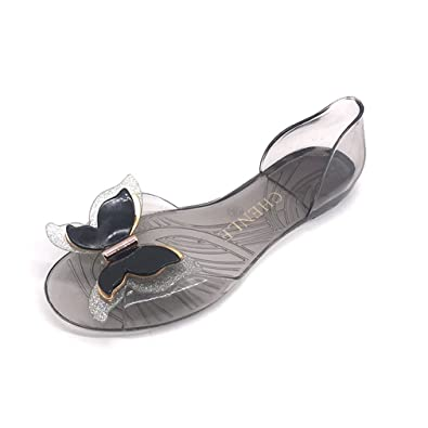 6c7c71de6262 GIY Clear Jelly Bow Sandals for Women Transparent Summer Beach Flat Jellies  Water Sandals Shoes Black