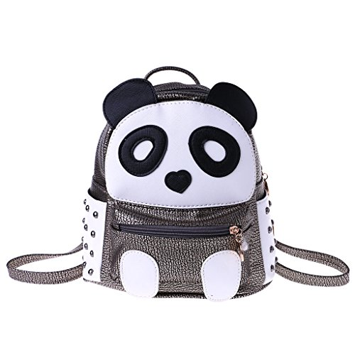 Bag Women Panda Casual Girls Backpack Cartoon Silver Teens JAGENIE Book Mini Rivet Backpack Bronze xXUqddStw