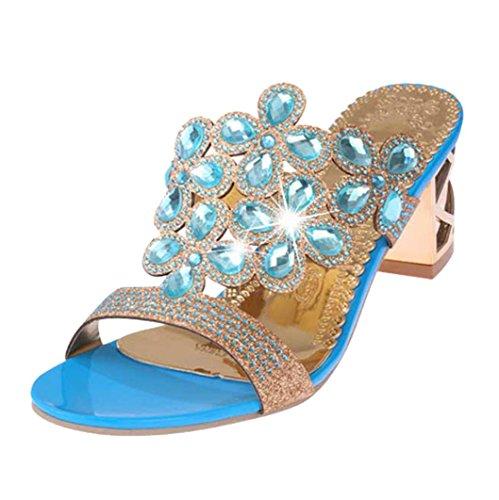 DENER Women Girls Ladies Summer High Heels Slippers,Rhinestone Washable Open Toe Chunky Indoor Outdoor Sandals (Sky Blue, ()