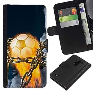 LECELL--Cuero de la tarjeta la carpeta del tirón Smartphone Slots Protección Holder For LG G3 -- Balón de fútbol llameante --