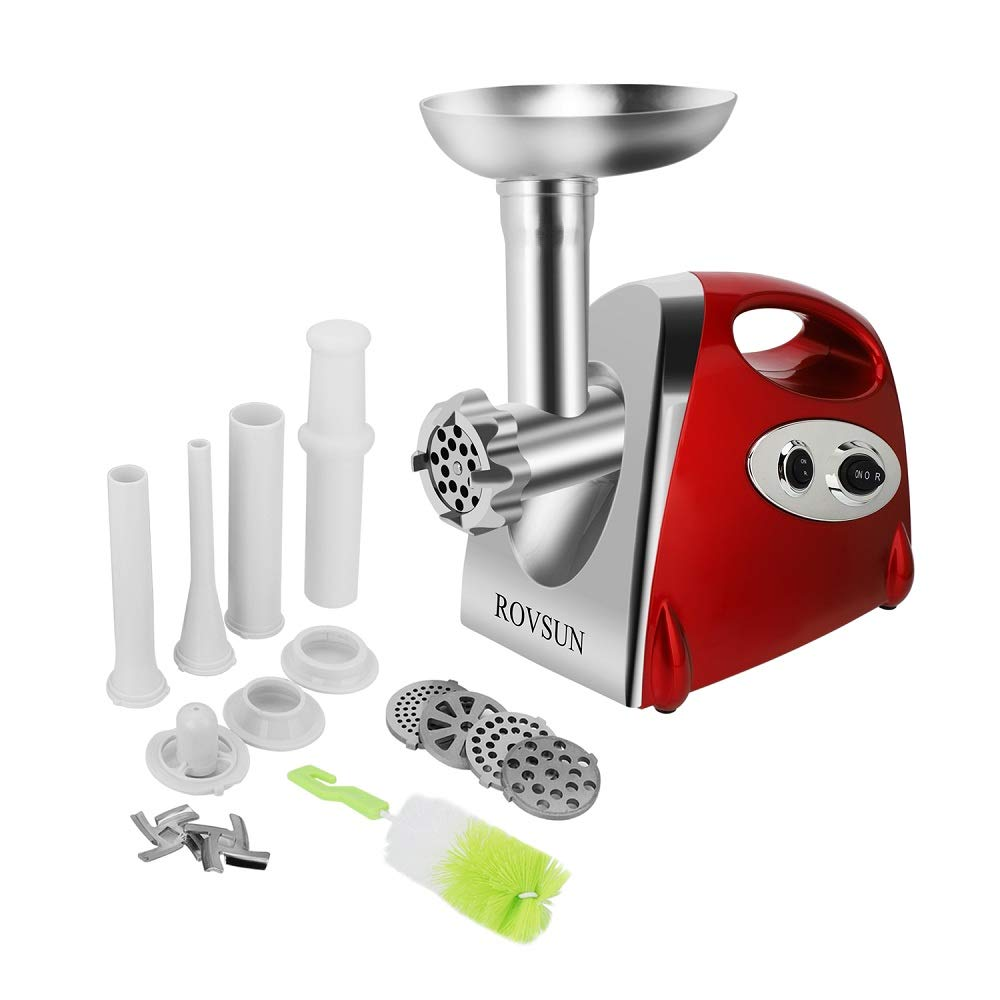 ROVSUN Electric Meat Grinder, 800W Heavy Duty Mincer Sausage Stuffer Food Processor with 4 Grinding Plates 3 Sausage Tubes 2 Stainless Steel Blades Kubbe Attachment & Brush, For Home Use, ETL Listed