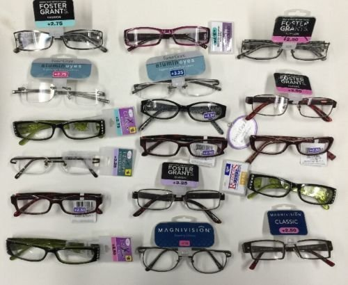 25 Pairs Assorted FOSTER GRANT, Magnivision, EZ Readers, Spare Pair, Essentials and other FGX brand READING GLASSES Assorted Strengths And Styles 1.25-3.25 ()