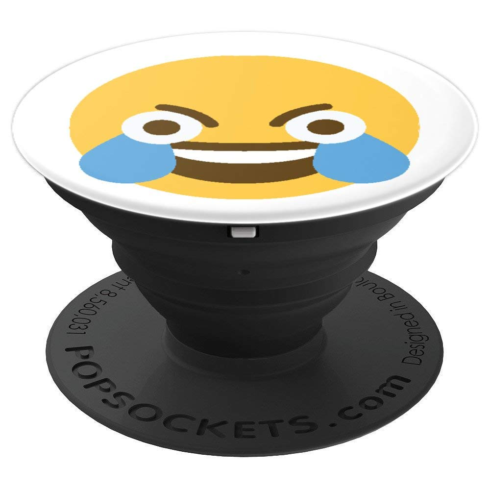 Amazon com funny laughing crying crazy meme open eye emoji face popsockets grip and stand for phones and tablets cell phones accessories