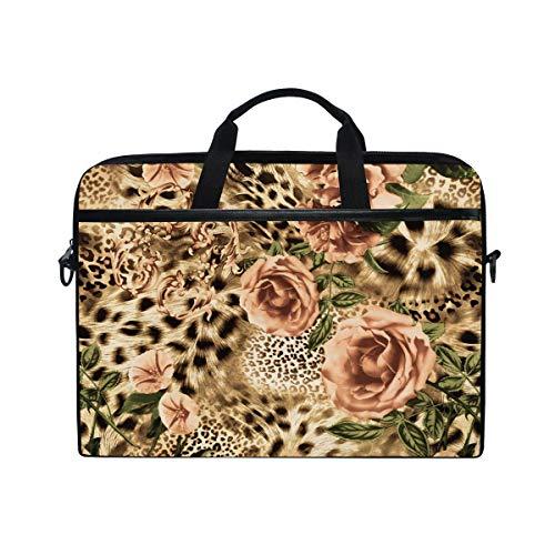 MOFEIYUE Laptop Bag Animal Leopard Print Flower Computer Laptop Case Notebook Laptop Shoulder Messenger Bag Sleeve for Boys Girls Women Men