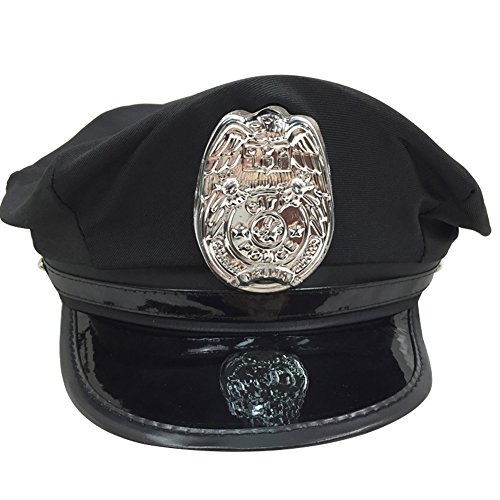DREAMOWL Police Cop Hat Costume Accessory Party Black Cap For Women (Sexy Robber Outfit)