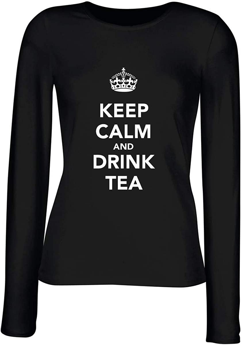 T-Shirt Manica Lunga Donna Nera TKC2586 Keep Calm And Drink Tea