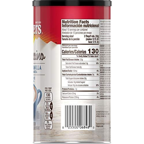 Folgers Cappuccino French Vanilla Instant Coffee Beverage Mix, 16 Ounces