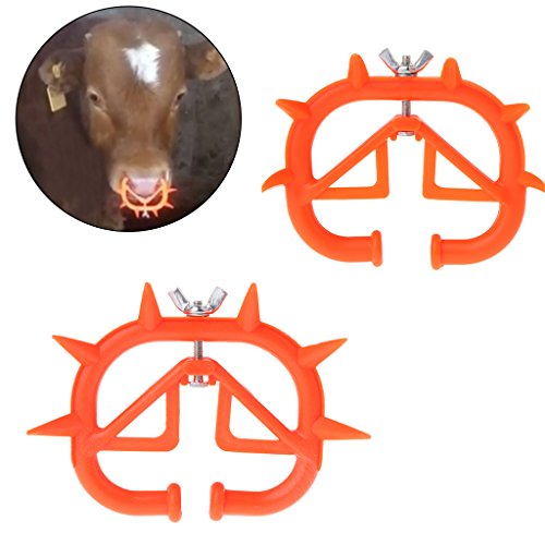 Onpiece 2 Pack Cattle Weaner, Cow Nose Thorn, Weaning Calf Weaner with Thick Plastic Cattle Nose Rings Livestock Equipment (Thicken)