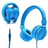 Bluelark Foldable Over Ear Headphones - Adjustable Lightweight Folding Wired Headphones Stereo Audio Corded Headset for Smartphones, PC, Laptop, MP3/ MP4 Player and More (Blue)