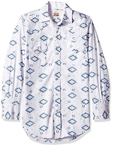 Ely & Walker Men's Long Sleeve Printed Western Shirt, Stone, Large