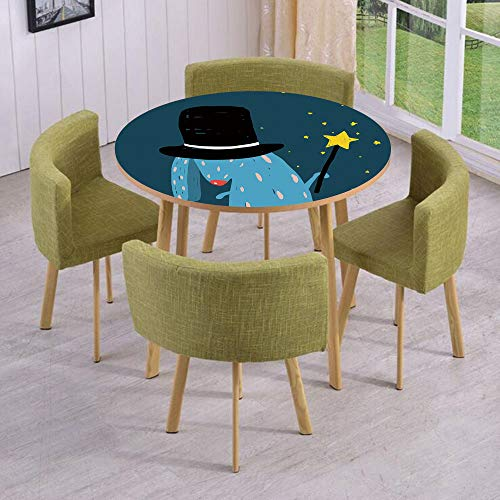 iPrint Round Table/Wall/Floor Decal Strikers/Removable/Rabbit with Black Hat Magic Wand Doing Tricks Bizarre Cartoon Style Artwork/for Living Room/Kitchens/Office -