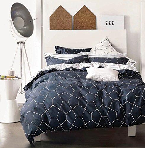 Minimal Style Geometric Shapes Duvet Quilt Cover Modern Scandinavian Design Bedding Set 100-percent Cotton Soft Casual Reversible Block Print Triangle Pattern (King, Dark (Sized Bedding Set)