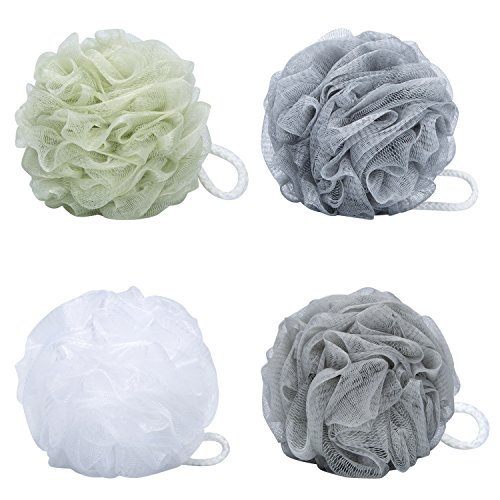 VAMIX-Bath-Sponge-Set-of-4-Colors-75-Gram-each-Large-Mesh-Brush-Shower-Ball-Pouf-Loofahs-Shower-Sponge