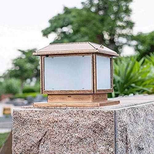 NESX Solar Cap Luces Pon jardín al Aire Libre a Prueba de Agua Columna Pilar Moldeada de luz LED de Aluminio Tradicional clásico de Cristal Pilar Villa Porche decoración E27 (Color: Bronce)