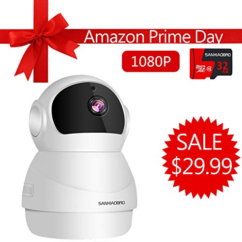 (Home Security Camera 1080P, Include 32GB Card FHD Wireless IP Pan/Tilt/Zoom Cam,WiFi Surveillance Dome Cameras,Two-Way Audio,Motion Detection)