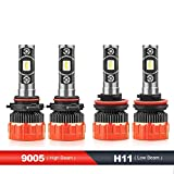 2012 4runner headlight - MOSTPLUS 8000 Lumens 80W/Pair-9005+H11 All-in-One LED-TX1860 Chip Really Focused Headlight Bulbs Super Mini Conversion Kit Xenon White Three Years Warranty (2 Pairs)