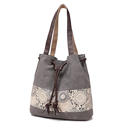 Hobo With Dual Canvas Bag Handbag Lady Paiting Women Satchel Gray Series Girl use Messenger Design Shoulder Girls Style Fashion Retro Htdirect Casual Students Cotton Mori 6wqaaH