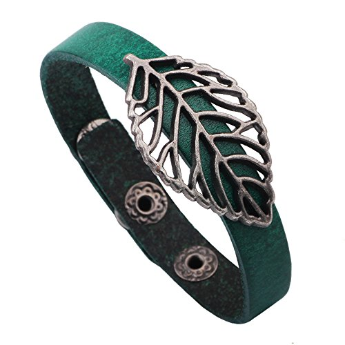 The November Nocturne Simple Alloy Hollow out the Leaf Pattern Green Leather Button Adjustable Length Wrap Bracelet