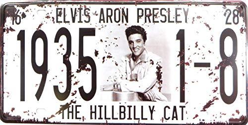 (AllPrints ShopForAllYou Decor Signs Wall Art Elvis Aron The Hillbilly Cat 1935 Plate tin Sign )
