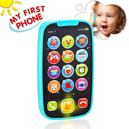 (VATOS Baby Toys, Baby Play Phone Toys with Lights, Music| Early Educational Learning Toys for Baby 8M -12M -24M + My First Smartphone| Click& Count, Call & Chat for Role-Play)