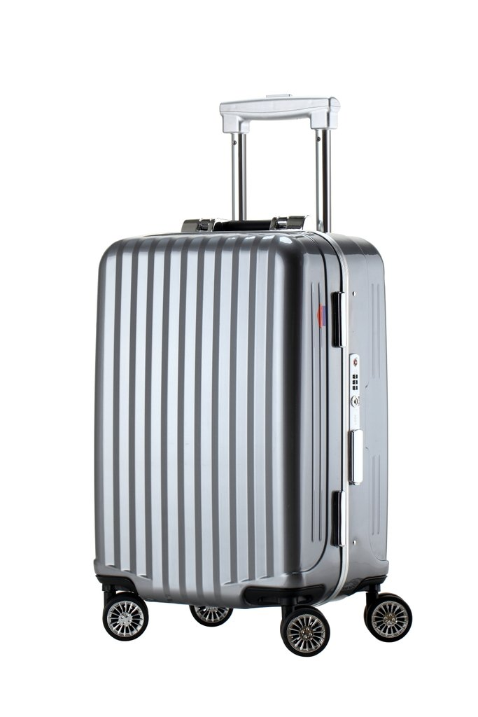 Ambassador Tru Frame Polycarbonate Lightweight Spinner Carry On Luggage Travel Trolley Suitcase Iron Gray 20 Inch