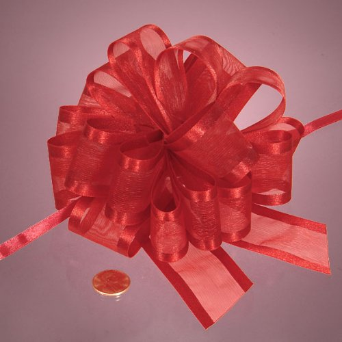 Red Arabesque Ribbon Bow, 4'' by Paper Mart
