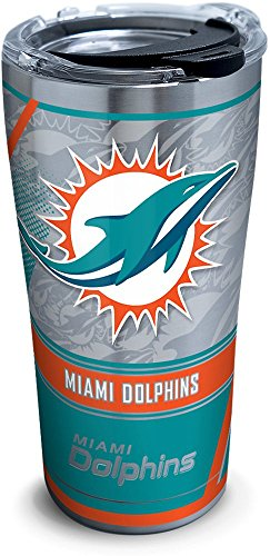 Tervis 1302777 NFL Miami Dolphins Edge Insulated Tumbler with Clear and Black Hammer Lid, 20 oz Stainless Steel, Silver