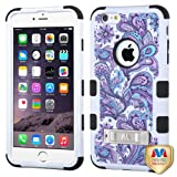 Purple European Flowers/Black TUFF Hybrid Protector Cover (with Stand) [Military-Grade Certified] for Apple iPhone 6s Plus/6 Plus