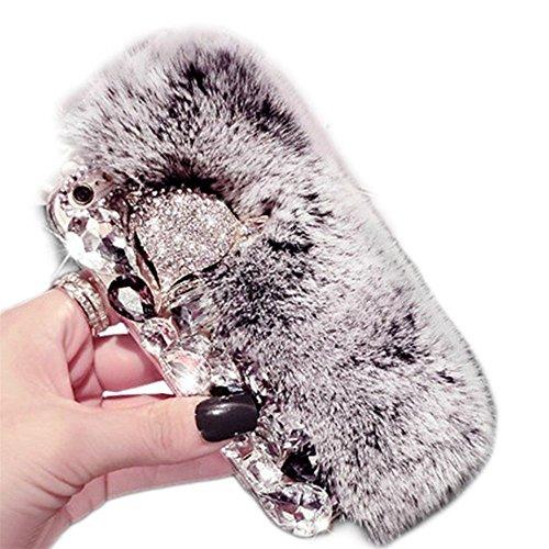 Alcatel Fierce 4 Case, Alcatel Allura Case, Alcatel Pop 4 Plus Case, Luxury Fox Head Fluffy Furry Soft Warm Beaver Rex Rabbit Hair Fur Glitter Diamond Crystal Rhinestone Case(Gray)