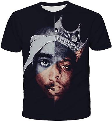 Camiseta De Hombre Sudadera De Verano 3D Print Rapper 2pac Manga Corta Hip Hop Streetwear Tops O Cuello Jersey De Moda: Amazon.es: Ropa y accesorios