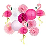 Tropical Party Decorations Pink Flamingo Party Supplies Pom Poms Paper Flowers Tissue Paper Fan Paper Lanterns for Hawaiian Summer Beach Luau Party