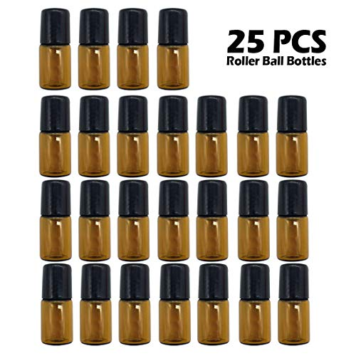 GreatBBA 25-Count 2ml Amber Mini Refillable Glass Roller Ball Bottles, Roll-on Vials for Essential Oil Aromatherapy Perfumes