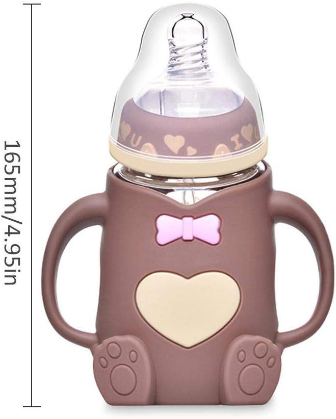 Coseyil Nouveau-n/é biberon gobelets pour Enfants Anti-Chute Anti-Flatulence avec poign/ée b/éb/é biberon en Verre Bouteille Large Calibre