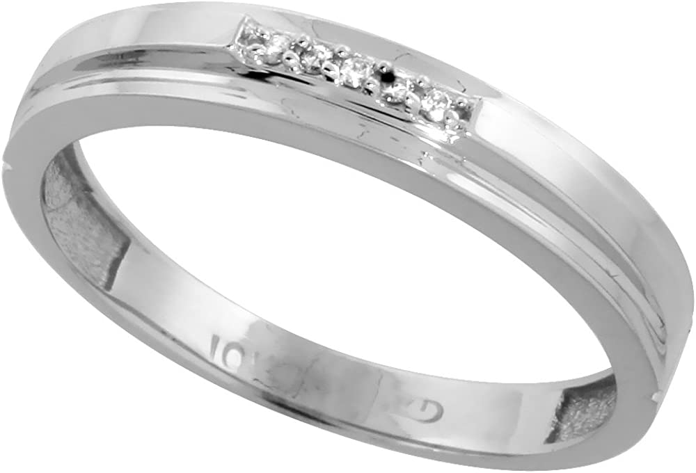 5//32 inch 4mm wide 10k White Gold Mens Diamond Wedding Band Ring 0.03 cttw Brilliant Cut