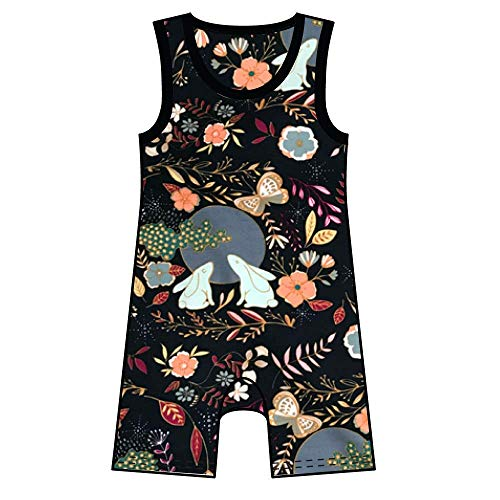 Woodland Themed Tank Short Summer Baby Romper Rabbits All In One Onepiece Jumpsuit Playsuit Unisex
