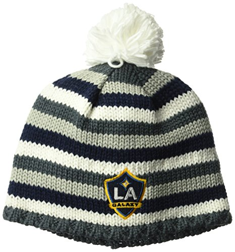adidas MLS Los Angeles Galaxy Men's Textured Beanie with Pom, One Size, White/Navy/Grey -