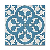 Moroccan Mosaic & Tile House CTP66-01 Melah 8''x8'' Handmade Cement Tile in Blue and Whilte (Pack of 12), White Blue