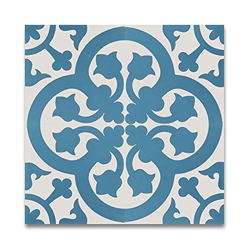 Moroccan Mosaic & Tile House CTP66-01 Melah Handmade Cement Tile 8''X8'' White,Blue