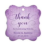 Darling Souvenir Custom Names Thank You For Celebrating With Us Wedding Hang Tags Personalized Party Tags-Stary Mauve Purple-100 Tags