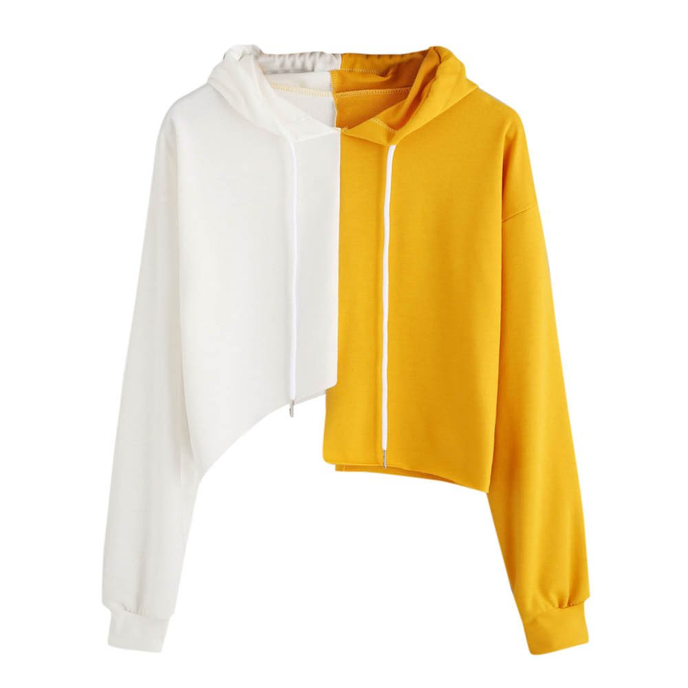 rocicaS Clearance Women's Long Sleeve Fashion Hooded Patchwork Colror Block Crop Tops Casual Jumper Pullover Blouses Top