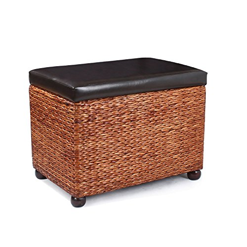 Joveco Bulrush Rattan Wicker Weave Storage Ottoman with Faux Leather Lid Upholstery with Sponge Fill, Dark Brown Upholstery Square Weave