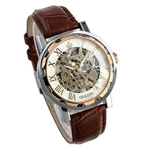 Mens Watch Mechanical Brown Leather Hand-Winding Analog Retro See Through Luxury