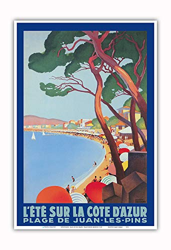 Pacifica Island Art - Cote D'Azur - Juan Les Pins Beach - PLM French Railroad - Vintage Railroad Travel Poster by Roger Broders c.1927 - Master Art Print - 13in x 19in